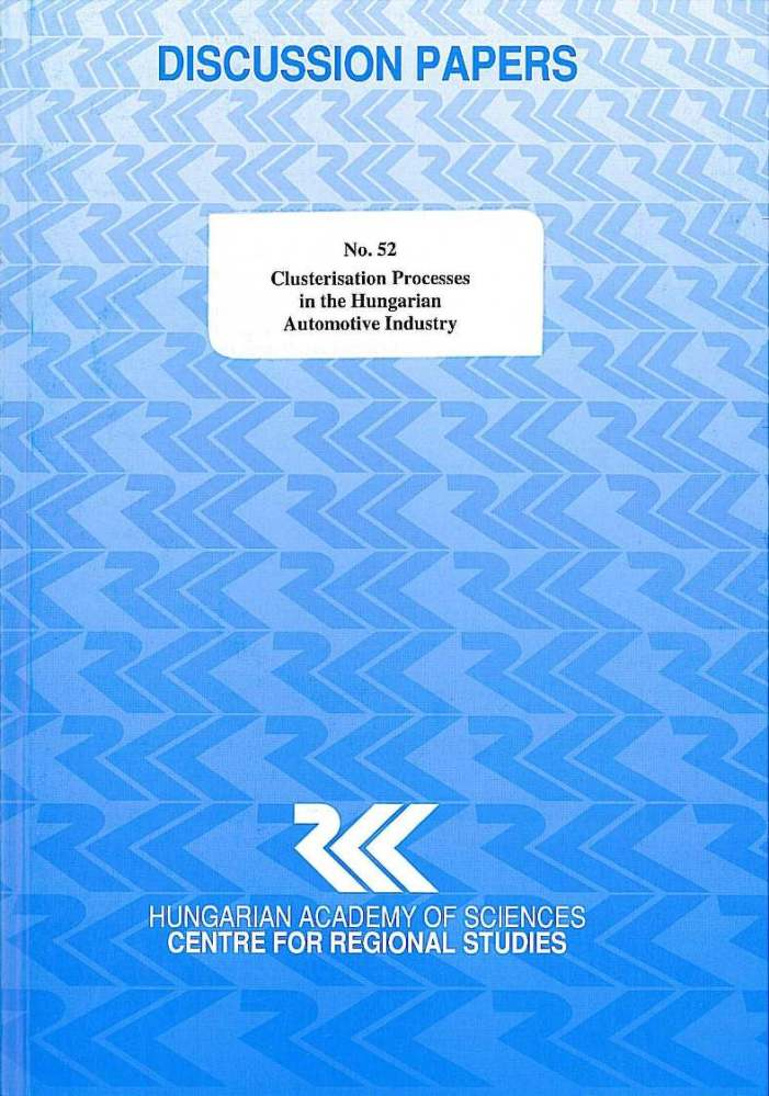 cover_Clusterisation Processes in the Hungarian Automotive Industry